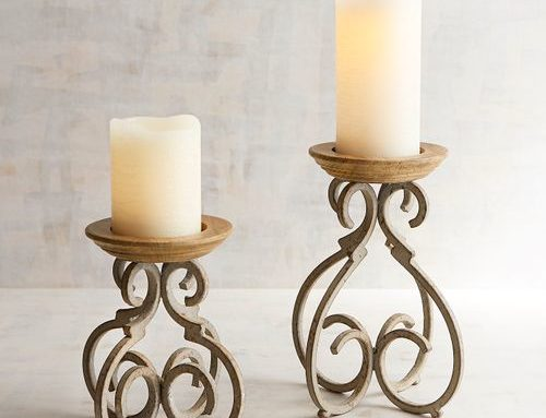 Candle Stands, Iron and Wood Tuscan Style $24 Pair