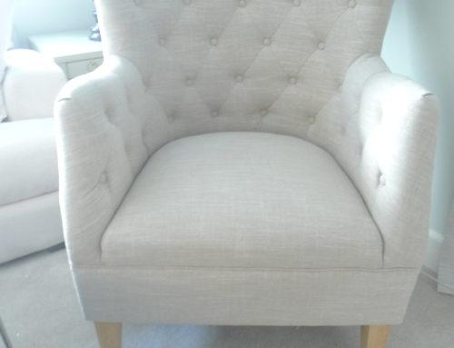 Wing Chair, Transitional Linen Blend Natural $350