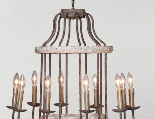 Chandelier, Adelle, 10 Light Rustic Iron & Wood, 26″x26″x25″ $200