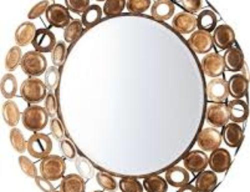 Mirror, Bevelled, Antique Gold Finish, 30″ $200